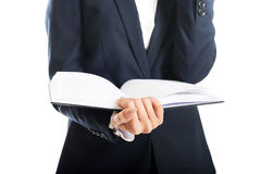 Close up on businesswoman holding her notes Royalty Free Stock Photography