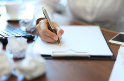 Close-up of Businesswoman makes a note Stock Photos