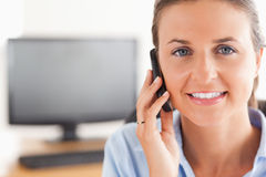 Close up of a businesswoman making a phone call Royalty Free Stock Images