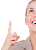 Close-up of a businesswoman pointing upward Royalty Free Stock Image