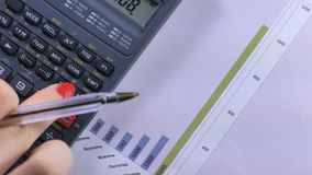 Women businesswoman using calculator. Secretary hands working with calculator. Close-up of businesswoman using calculator. Secretary hands working with stock footage