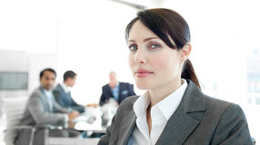 Close-up of a businesswoman in a wheelchair Royalty Free Stock Images