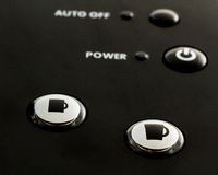 Close up of buttons on single serve coffee and tea maker.  Royalty Free Stock Photo