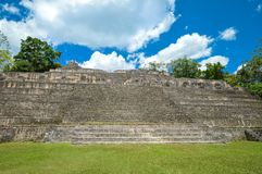 Caana pyramid at the Caracol archaeological site of Maya civilization in Belize. Central America. Close up of the Caana pyramid at the Caracol archaeological Royalty Free Stock Photo