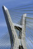 Close-up of cable-stayed bridge, view from below royalty free stock photo