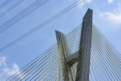 Close-up of cable-stayed bridge, view from below royalty free stock image
