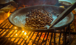 Close up of cacao bean inside of a metallic tray, over a wood stove, roasting cocoa beans.  Royalty Free Stock Image