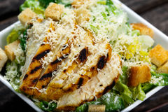 Close Up Caesar salad with chicken and lettuce Royalty Free Stock Photography