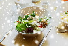 Close up of caesar salad on plate at restaurant Royalty Free Stock Photo