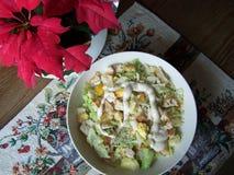 Close-up of a Caesar salad setting Royalty Free Stock Image