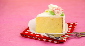 Close up of cake against pink background Royalty Free Stock Images