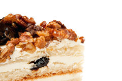Close-up cake with prunes and nuts Stock Images