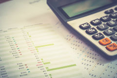 Close up of calculator and documents of personal budget.Financial Management concept. Stock Image