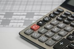 Close up calculator with finance documents in business. Concept of close up calculator with finance documents in business Royalty Free Stock Photos