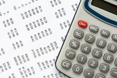 Close-up of calculator on financial statement Stock Photo