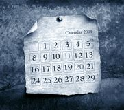 Close up of calendar. With burned edges Stock Image