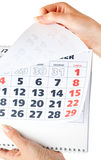 Close up of calendar in hands Stock Photography
