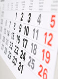 Close up  calendar page. Close up a calendar page Stock Photos