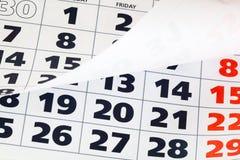 Close up of calendar page Royalty Free Stock Photos