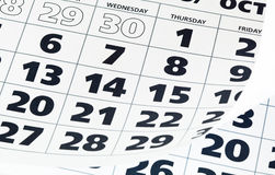 Close up of calendar page Stock Images