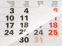 Close up calendar page Royalty Free Stock Image