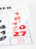 Close up of calendar page Royalty Free Stock Image