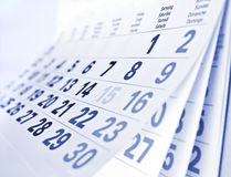 Close up a calendar page. Close up a blue toned calendar page royalty free stock photography