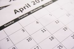 Close up calendar of page April background, Tax season royalty free stock photo