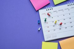 Close up of calendar on the purple background Stock Photography