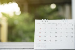 Close up of calendar on the table for planner Stock Photography