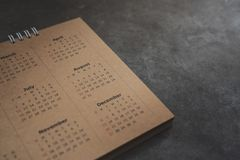 Close up of calendar on the table Stock Photos