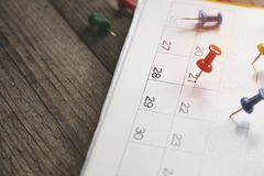 Close up of calendar on the table Stock Photography