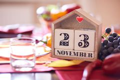 Close-up calendar with Thanksgiving 2017 date on a table background. Thanksgiving holiday. Copy space. Stock Photography