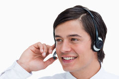 Close up of call center agent in a conversation Royalty Free Stock Image