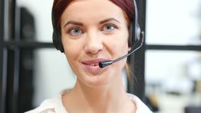 Close up, Call Center Woman Turning Face and Smiling stock footage