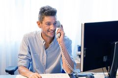 Close-up of an call center worker royalty free stock image