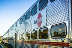 Close up of Caltrain car; logo printed on the side. April 20, 2018 Mountain View / CA / USA - Close up of Caltrain car; logo printed on the side stock photography