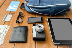 Close up of camera, gadgets and travel stuff Royalty Free Stock Photography