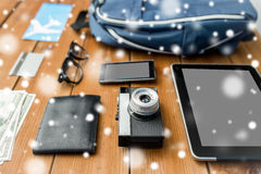Close up of camera, gadgets and travel stuff Royalty Free Stock Image