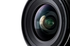 Camera lens with a white background