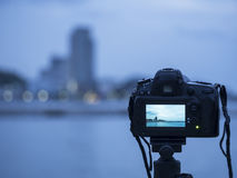 Close up camera the night view of city, background Landscape out of focus Royalty Free Stock Photography