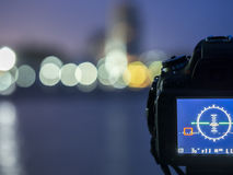 Close up camera the night view of city, background Landscape out of focus Stock Photos