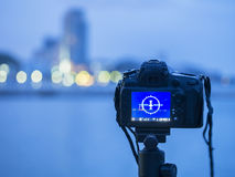 Close up camera the night view of city, background Landscape out of focus Stock Images