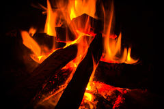 Close up campfire in the mountain Stock Photos