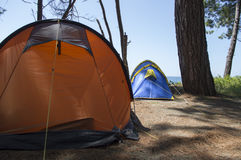 Close up of camping tent with arcs Royalty Free Stock Photography