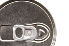 Close up of can pull tab, top view of aluminum tin can. Royalty Free Stock Photography
