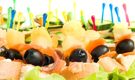Close-up of canape with olives Royalty Free Stock Photo