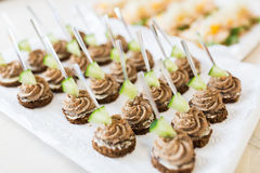 Close up of canape with paste on serving tray Stock Photos