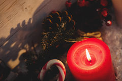 Close-up of candle burning. During christmas time Stock Photo