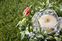 Close up candle with flowers Stock Image